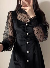 Smoke flower lace see-through blouse