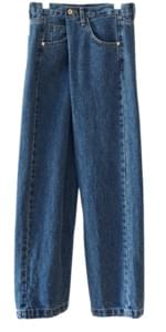 unbalance wrap denim pants