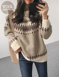 Winter snowflake wool knit