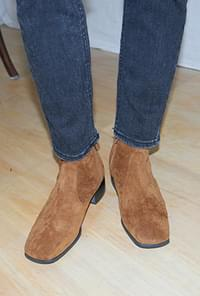 Square toe suede ankle boots
