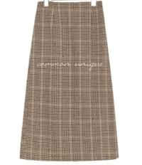 FLAH WOOL HOUND CHECK MIDI SKIRT