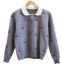 Flat collar cherry cardigan