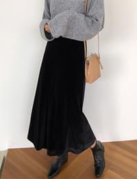 Plain velvet long skirt_B