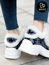 Bake Leather Real Fur Sneakers 5cm
