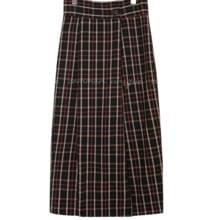 OLLA WOOL 50% CHECK LONG SKIRT
