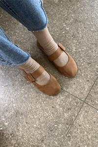 Jane Suede Flat Shoes