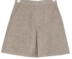 front slit herringbone wool skirt (s, m)