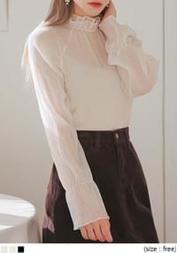 SHELL WRINKLE SEETHROUGH BLOUSE