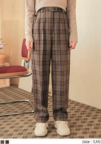 CANE WOOL CHECK PINTUCK SLACKS