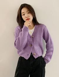 Color crop knit cardigan_S (size : free)