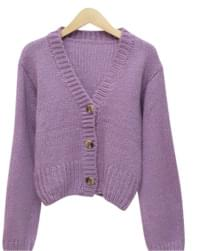 Color cropped knit cardigan 開襟衫