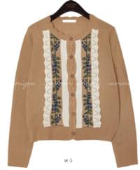 VINTAGE FLOWER WAVE KNIT CARDIGAN