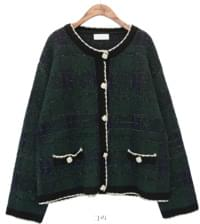 BLING WOOL CHECK KNIT CARDIGAN