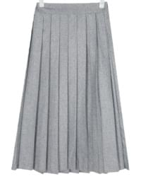 wool banding pleats skirt