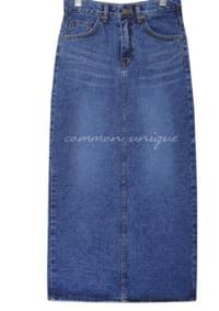 IMAGE BACK SLIT DENIM LONG SKIRT