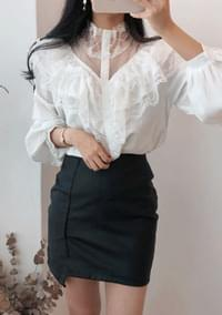 See-through lace frilly blouse