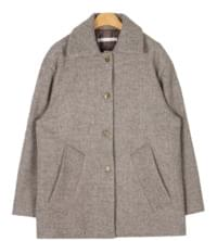 white drop shoulder wool half coat