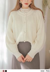 LOVES PEARL PUFF KNIT CARDIGAN
