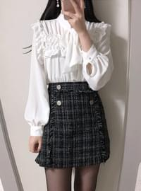 Double tweed skirt pants