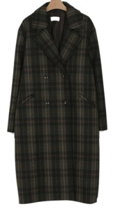 wool check double coat