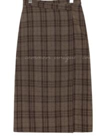 AMONG WOOL CHECK WRAP LONG SKIRT