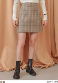 SELLY WOOL CHECK A LINE MINI SKIRT