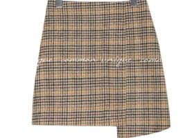 ZERO WOOL CHECK UNBAL MINI SKIRT
