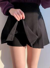 Pocket half pleated skirt pants