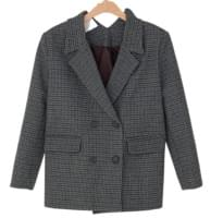 Double Button Check Wool Jacket