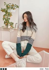 MOGEN COLOR MIX KNIT CARDIGAN