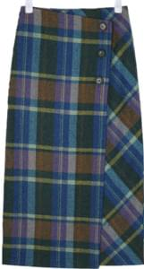 viva button wool check skirt