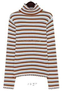 WARM STRIPE WAVE HIGH NECK KNIT