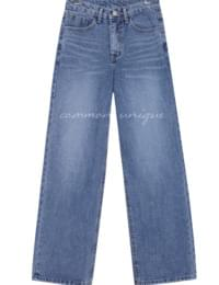 PIN WIDE STRAIGHT DENIM PANTS