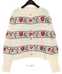 ORING FLOWER WOOD KNIT CARDIGAN