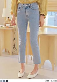 MOMO SLIM CUTTING DENIM PANTS