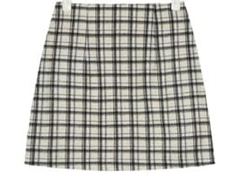 have mini wool check skirt