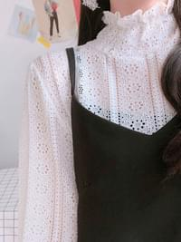 Hydrangea lace frilly blouse