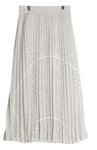 Dot wave pleated skirt