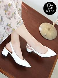 Third, confession slingback middle heel 5 cm
