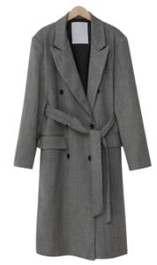 Herringbone belt long coat_S (size : free)