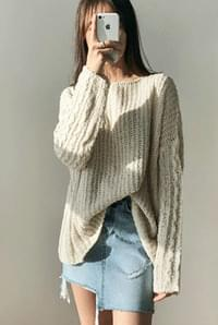 Pudding boat neck knit