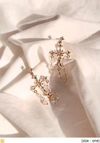 GOLD CROSS DROP EARRING
