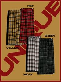 Clover check cotton pants