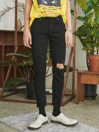 damage cutting black jeans - UNISEX