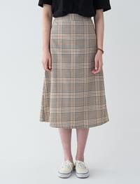 A-line banding check long skirt