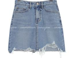 FRIA DAMAGE DENIM MINI SKIRT