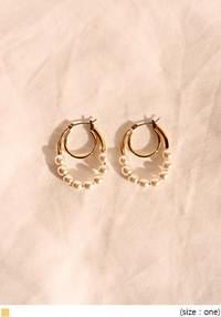 LENT PEARL GOLD 2 RING EARRING