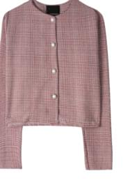 Alice check pearl short jacket