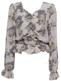 Shirring crop floral blouse_S