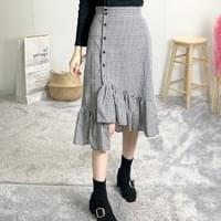 Check Button Unlined Long Skirt